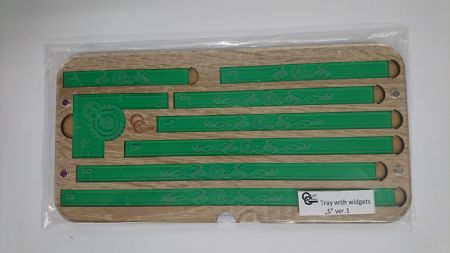 "Tray with widgets ""S"" ver.1 - Transparent green/sonoma wood"